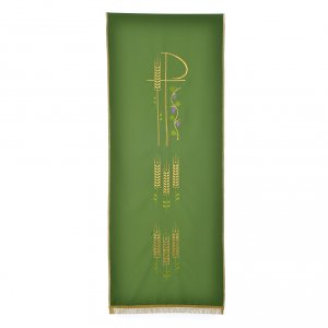 Chi Rho, ears of wheat pulpit cover with fringe s5