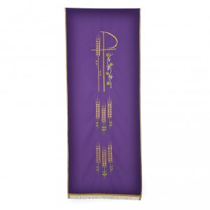 Chi Rho, ears of wheat pulpit cover with fringe s2