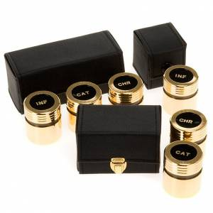 Baptism sets and Holy oils: Chrismatory set: case with gold-plated vases
