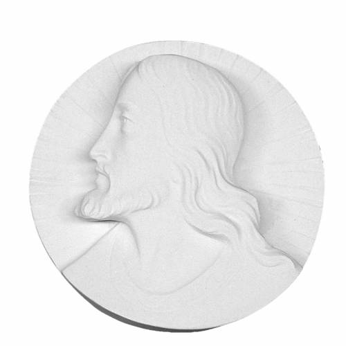 Christ's face,  round shaped bas-relief in reconstituted marble s1