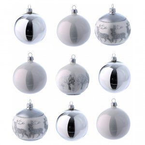 Christmas balls: Christmas balls in glass white and silver 80 mm 9 pieces set