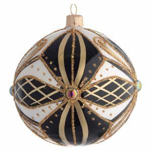 Christmas balls: Christmas Bauble black white & gold 10cm