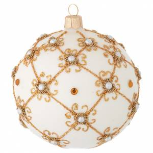 Christmas bauble in blown glass, ivory and gold 100mm s1