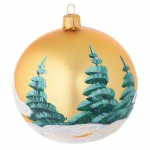 Christmas bauble in golden blown glass with houses 100mm s2