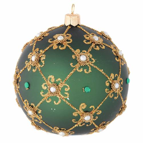 Christmas bauble in green and gold blown glass 100mm s2