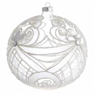 Christmas balls: Christmas Bauble transparent and white 15cm