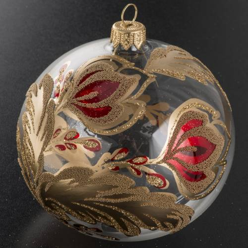 Christmas bauble, transparent blown glass with flowers 10cm s2