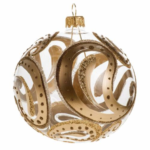Christmas bauble, transparent with golden drops, 10cm s1