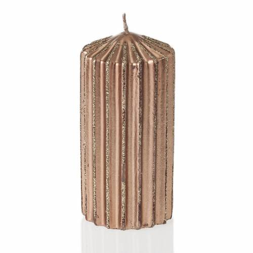 Christmas decoration candle brass color stripes s1