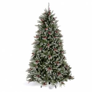 Artificial Christmas trees: Christmas tree 240 cm, flocked Dunhil with pine cones and berries
