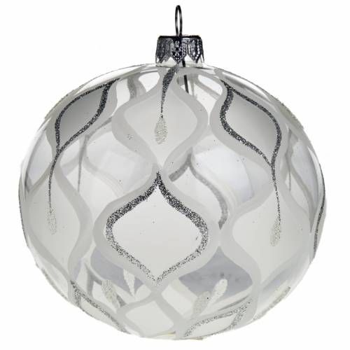 Christmas tree bauble, silver blown glass 10cm s1