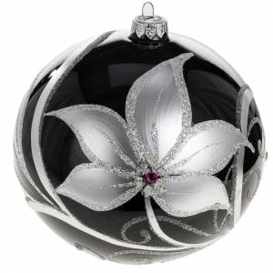 Christmas tree baubles glass black silver flowers, 15cm s1