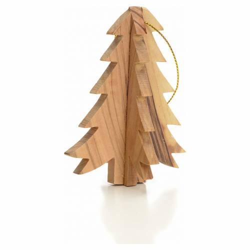 Christmas tree decoration in Holy Land olive wood, fir tree s2