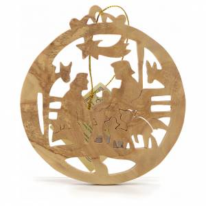 Christmas tree decoration in Holy Land olive wood, round s1