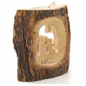 Christmas tree decoration in Holy Land olive wood, trunk with Wi s2