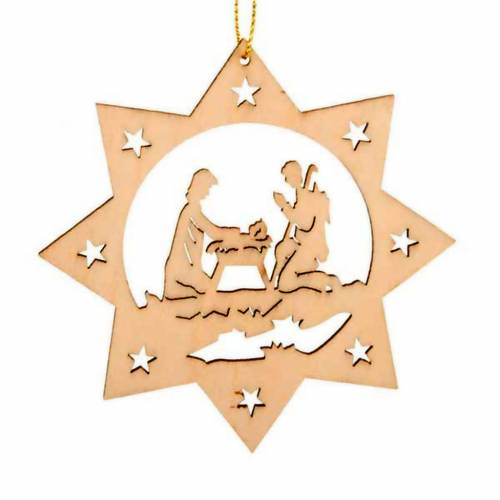 Christmas tree decoration, star with 8 points and Holy Family s1
