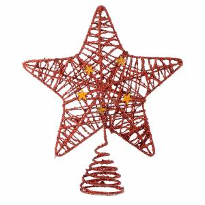 Christmas tree ornaments in wood and pvc: Christmas Tree topper with red glitter star