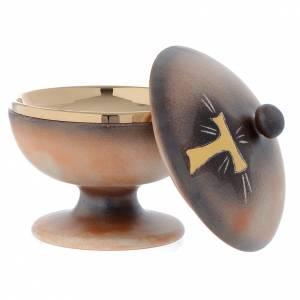 Ciboire céramique terre cuite ancienne or tau s2