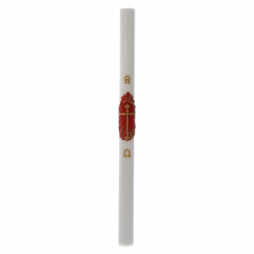 Cierge pascal cire blanche Croix Ancienne blanc 8x120cm s3