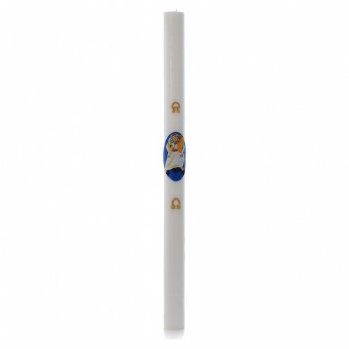 STOCK Cierge pascal Logo Jubilé Miséricorde cire blanche 8x120cm s3