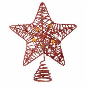 Décorations sapin bois et pvc: Cimier Sapin Noël étoile pailletée rouge