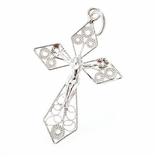 Croce pendente filigrana argento 800 s1
