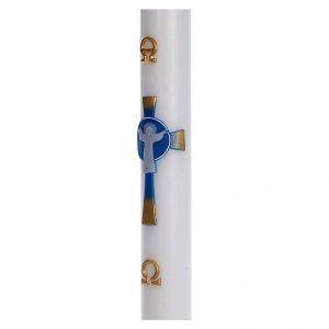 Cirio Pascual cera blanca Cruz Jesucristo Resucitado 8x120 cm s4