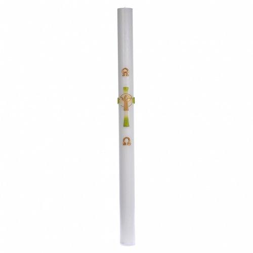 Cirio Pascual cera blanca Jesucristo Resucitado verde 8x120 cm s3