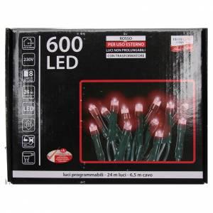 Éclairage Noël chaîne 600 LEDS rouges EXTÉRIEUR programmable s4