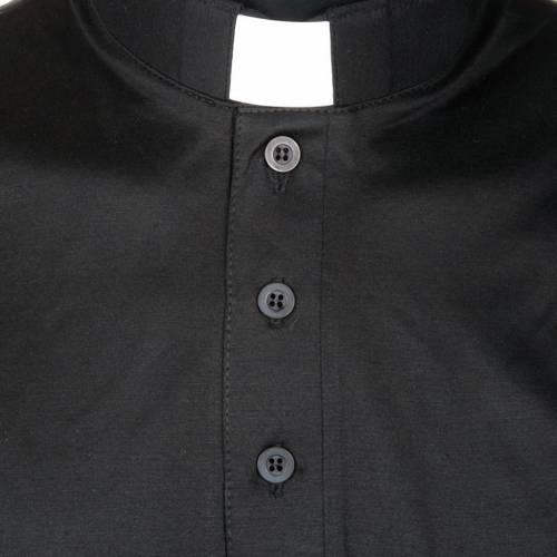 Clergy polo shirt short sleeves black lisle thread s3