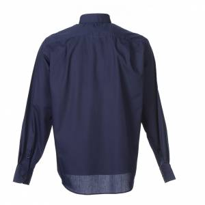 Clergy Shirts: Clergy shirt long sleeves solid colour mixed cotton Blue