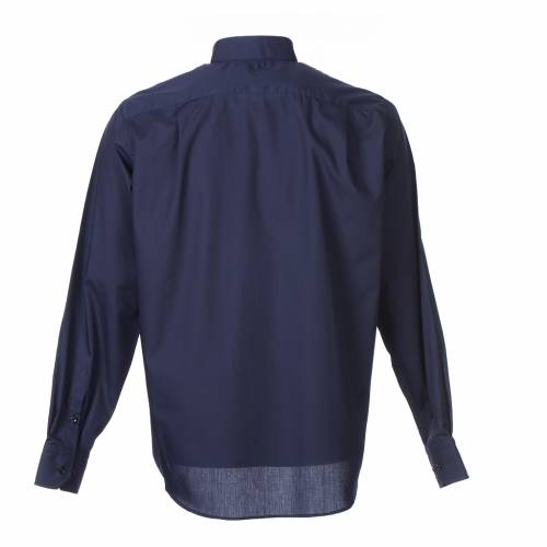 Clergy shirt long sleeves solid colour mixed cotton Blue s2