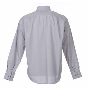 Clergy Shirts: Clergy shirt long sleeves solid colour mixed cotton Light Grey