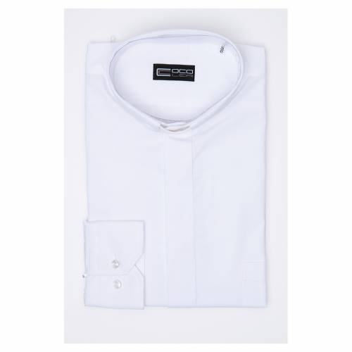 Clergy shirt long sleeves solid colour mixed cotton White s3