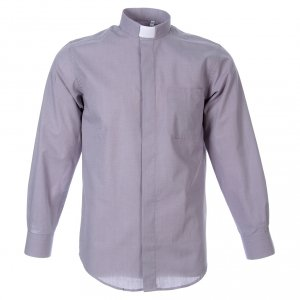 Clergy Shirts: STOCK Clergyman shirt in light grey fil a fil cotton, long sleeves