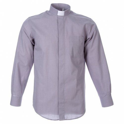 STOCK Clergyman shirt in light grey fil a fil cotton, long sleeves s1