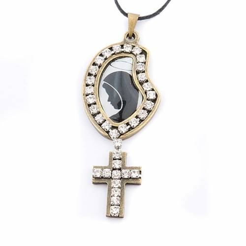 Colgante Virgen y cruz strass s1