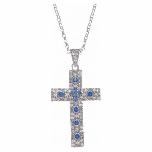 Collana Amen Croce Argento Rodiato zirconi Blu s1