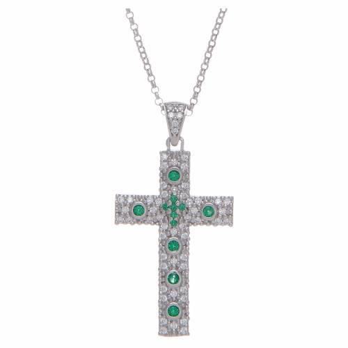 Collana Amen Croce Argento Rodiato zirconi Verdi s1