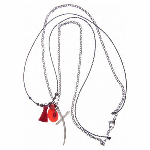 Collana con croce e medaglia miracolosa nappina rossa s3