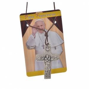 Collana Croce Papa Francesco metallo 4x2,6 cm con corda s3