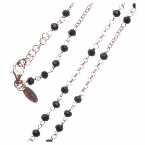 Collana rosario AMEN classico crist neri arg 925 Rosè s3