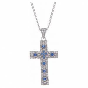 Colgantes, cruces y broches: Collar AMEN Cruz Plata Rodio circones azules