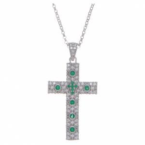 Colgantes, cruces y broches: Collar AMEN Cruz Plata Rodio circones verdes
