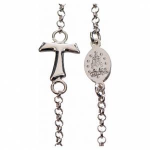 Colgantes, cruces y broches: Collar MATER blanco cadena plata 925 tau y medalla