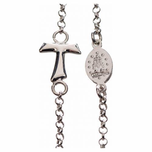 Collar MATER blanco cadena plata 925 tau y medalla s2
