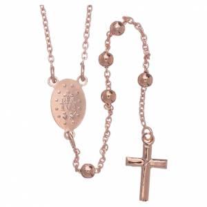 Rosarios metal: Collar rosario AMEN diám 4 mm bronce rosado
