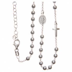 Collier chapelet argent 925 grains 4 mm croix et Miséricorde s2
