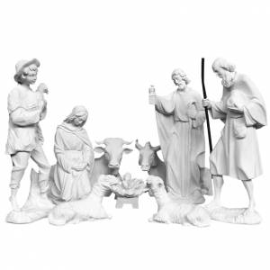 Reconstituted marble religious statues: Complete Nativity set of 9 pieces in Carrara marble dust, 30cm