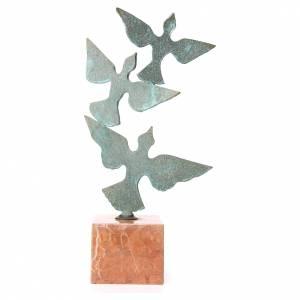 Composition colombes base marbre 55cm s1